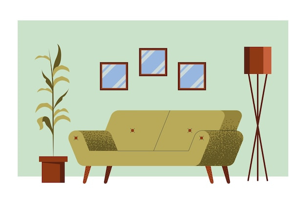 Zielona sofa w scenie w salonie