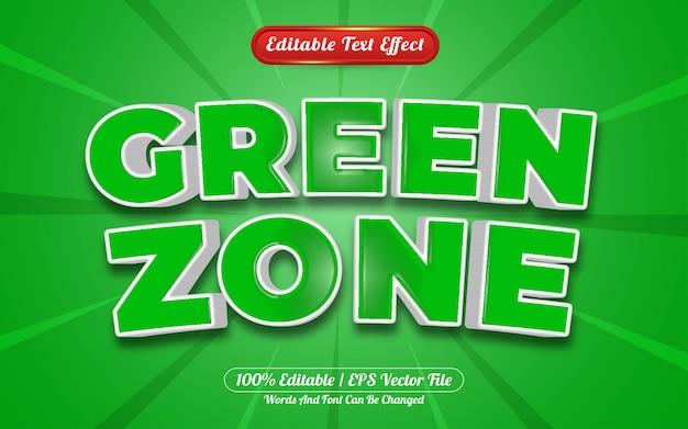 Zielona strefa 3d edytowalny styl szablonu efektu tekstowego