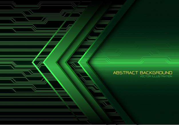 Zielona strzałka obwód światła moc technologia tło.