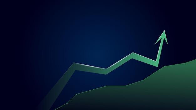 Zielona strzałka trendu wzrostowego z miejsca na kopię na niebieskim tle. gospodarka się rozwija. ilustracja wektorowa.