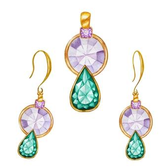 Zielona szmaragdowa kropla, fioletowe kwadratowe kryształowe koraliki z kamieniami szlachetnymi ze złotym elementem. akwarela rysunek złoty wisiorek i kolczyki