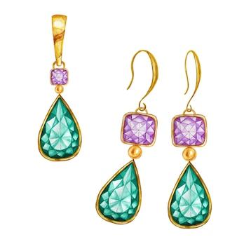 Zielona szmaragdowa kropla, fioletowe kwadratowe kryształowe koraliki z kamieniami szlachetnymi ze złotym elementem.