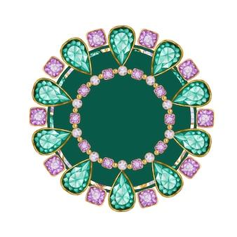 Zielona szmaragdowa kropla, fioletowy kwadrat i okrągły kryształowy kamień szlachetny ze złotą ramką. jasna bransoletka w akwareli z obramowaniem z kryształków.