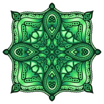 Zielona sztuka z rombem w kwadratowym kształcie