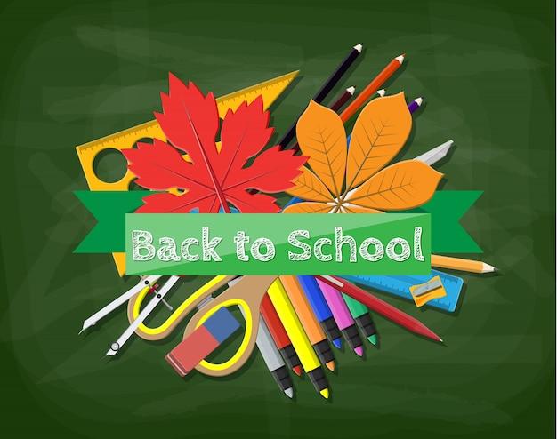 Zielona tablica. linijka długopis ołówek nożyczki książki temperówka gumka marker przegroda linijka jesienny liść. lekcja w klasie szkolnej. wykształcenie wyższe lub wyższe. ilustracja płaski