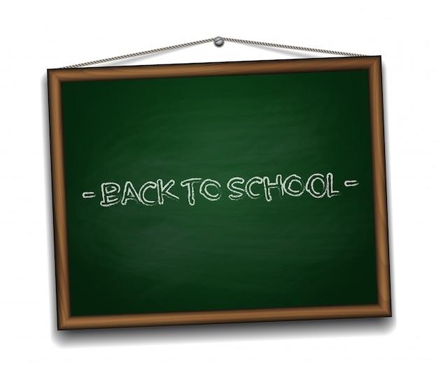 Zielona tablica w drewnianej ramie. powrót do szkoły tła ilustracji