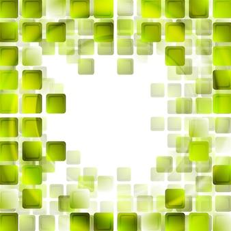 Zielona technika kwadraty na białym tle. projekt wektorowy