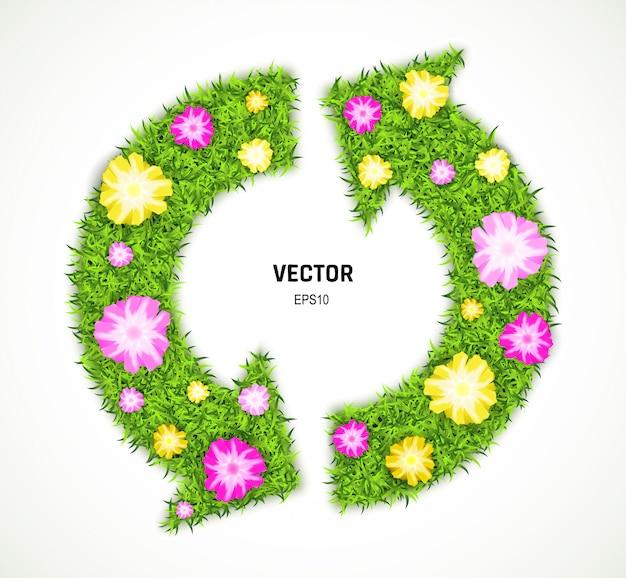 Zielona trawa i kwiaty strzałka na białym tle. znak ekologicznego zrównoważonego rozwoju lub symbol recyklingu. ilustracja 3d