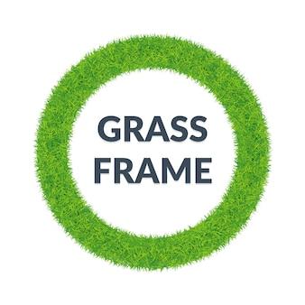 Zielona trawa okrągła rama
