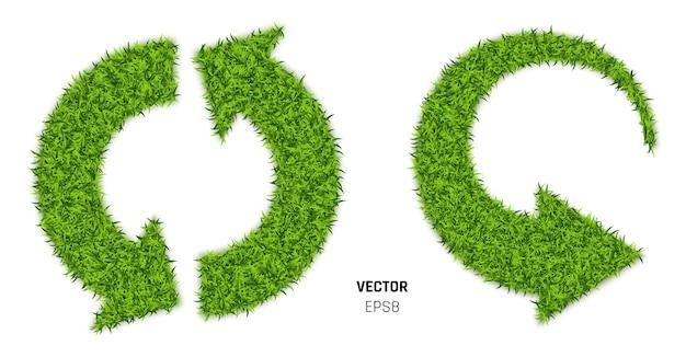 Zielona trawa strzałki na białym tle ilustracja 3d
