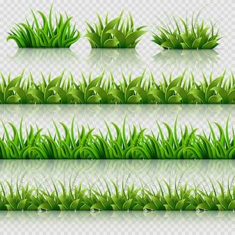 Zielona trawa wektor bezszwowe granice zestaw