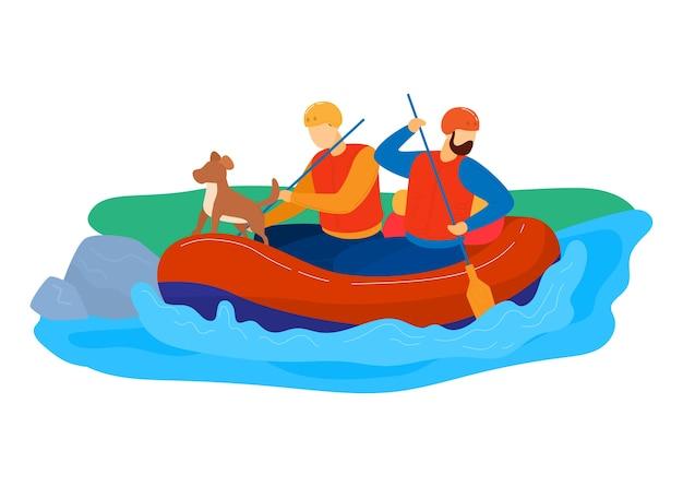 Zielona turystyka, aktywny styl życia na świeżym powietrzu, rafting na rzece, sporty wodne, ilustracja kreskówka styl na białym tle. mężczyźni podróżują rzeką, ludzie i pies na wiosle, wakacje na łonie natury