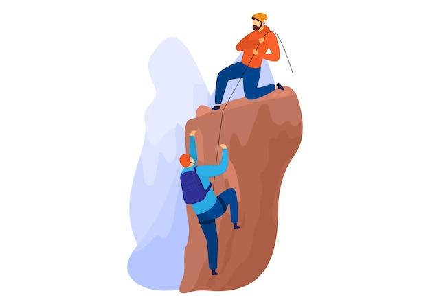 Zielona turystyka, aktywny styl życia na świeżym powietrzu, wspinaczka na szczyt, letnie podróże, ilustracja kreskówka na białym tle. ludzie wspinający się po stromym zboczu, wędrówki pełne przygód, przyjaciel pomagający człowiekowi.