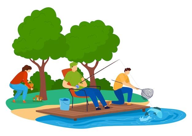 Zielona turystyka, koncepcja aktywnego wypoczynku, na świeżym powietrzu, letnie podróże, projekt ilustracja w stylu kreskówki, na białym tle. urlopowy las, ludzie na łonie natury, mężczyźni łowiący ryby, kobieta zbierająca grzyby.