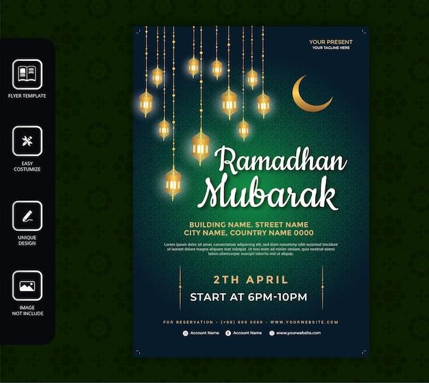 Zielona ulotka ramadan kareem
