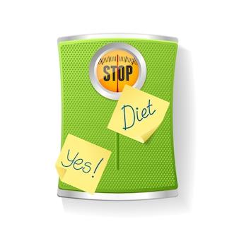 Zielona waga łazienkowa na białym tle na białym tle. pojęcie odchudzania i diety