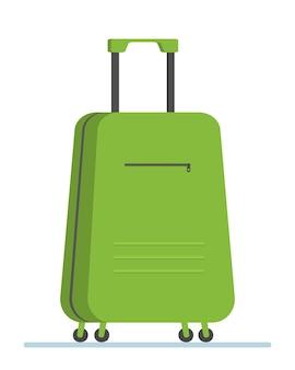Zielona walizka podróżna do magazynu zakupów turystycznych w podróży