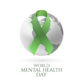 Zielona wstążka z ikoną ziemi monochromatycznej na białym tle. szablon plakatu lub broszury światowego dnia zdrowia psychicznego.