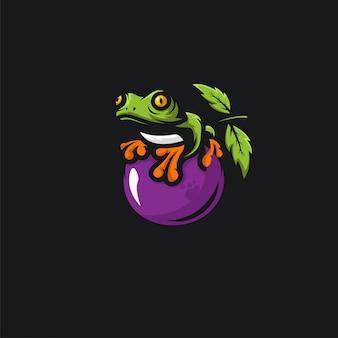 Zielona żaba i owoce drsign ilustration