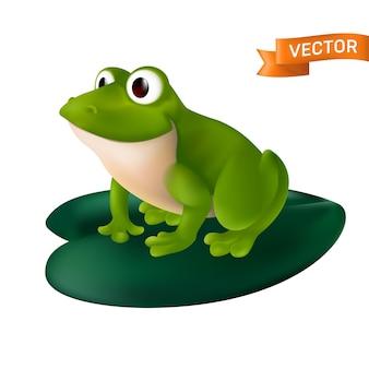 Zielona żaba kreskówka z dużymi oczami siedzi na zielonym liściu lilii wodnej. na białym tle na białym tle