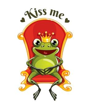 Zielona żaba książę w koronie siedzi na czerwonym tronie. pocałuj mnie.