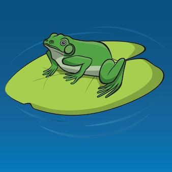 Zielona żaba siedzi na liściu