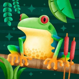 Zielona żaba zilustrowana w jej naturalnym środowisku
