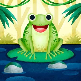 Zielona żaba Zilustrowana W Jej Naturalnym środowisku Darmowych Wektorów
