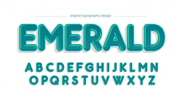 Zielona zaokrąglona kreskówka typografii