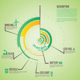 Zielona zaokrąglone infografika szablon