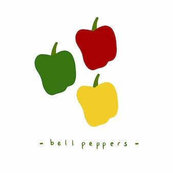 Zielona żółta i czerwona papryka social media post ilustracja wektorowa żywności