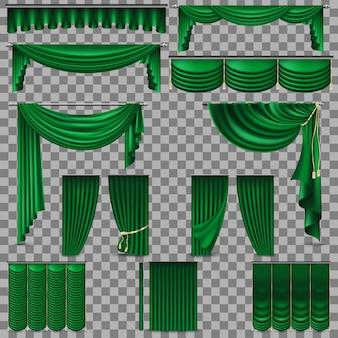 Zielone aksamitne zasłony z jedwabiu. przezroczyste tło tylko w