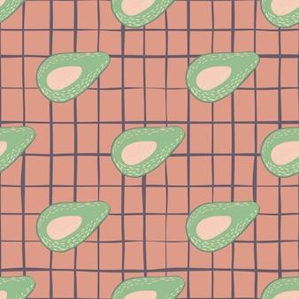 Zielone awokado doodle wzór.