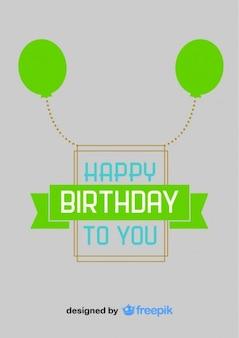 Zielone balony szczęśliwy urodziny pocztówka styl vintage