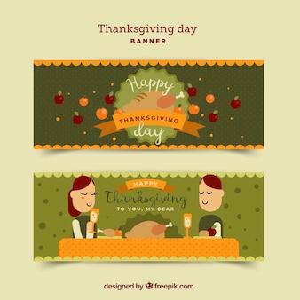 Zielone banery dziękczynienia