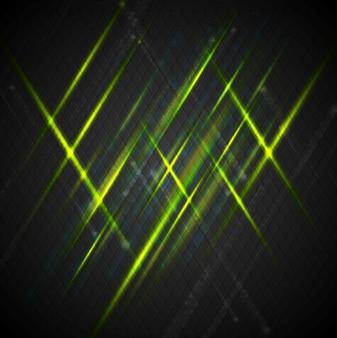 Zielone błyszczące światło na ciemnym tle. projekt wektorowy