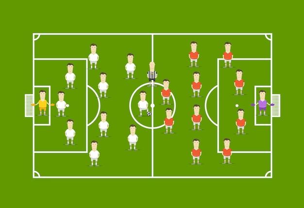 Zielone boisko do piłki nożnej z piłkarzami. plansza szablon