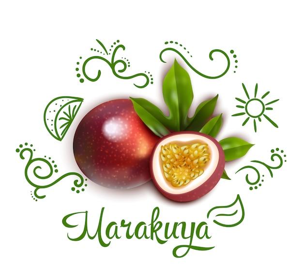 Zielone doodles wokół ilustracji owoców męczennicy