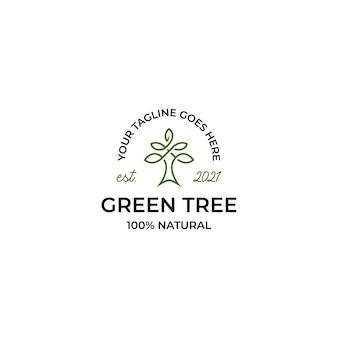 Zielone drzewo logo retro vintage szablon