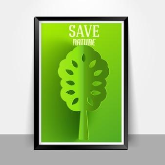 Zielone eko drzewo neture wektor ilustracja koncepcja tło