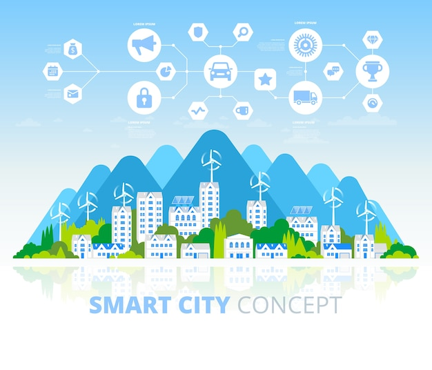 Zielone eko miasto i baner zrównoważonej architektury. ilustracja. budynki z panelami słonecznymi i wiatrakami. szczęśliwe, czyste, nowoczesne miasto. uratuj planetę. kreatywna koncepcja technologii ekologicznej.