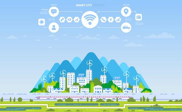 Zielone eko miasto i baner zrównoważonej architektury.