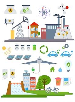 Zielone ekologiczne miasto infographic elementów