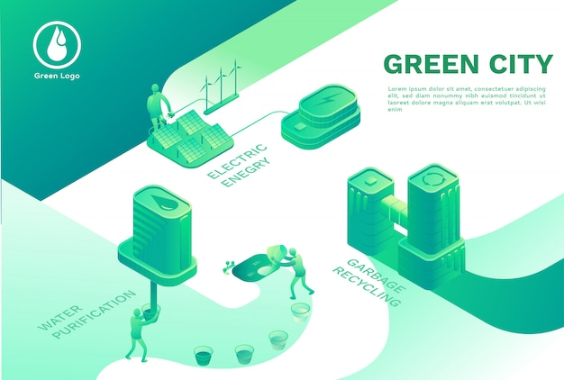 Zielone ekologiczne miasto ze stroną docelową inteligentnych technologii