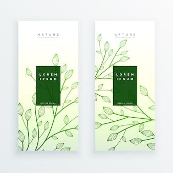Zielone eleganckie pionowe liście banery