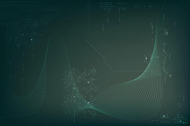 Zielone fale futurystyczne tło wektor z technologią kodu komputerowego