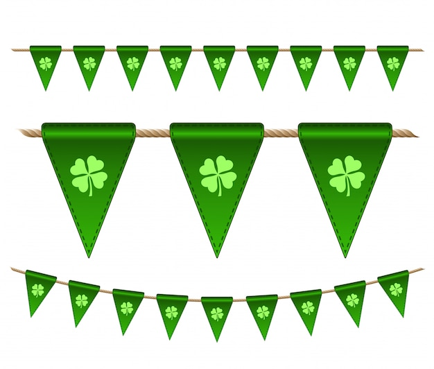 Zielone flagi świąteczne z koniczyny