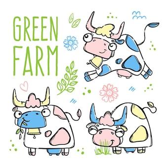 Zielone gospodarstwo słodkie krowy ręcznie rysowane w stylu szkicu kreskówka plakat clipart