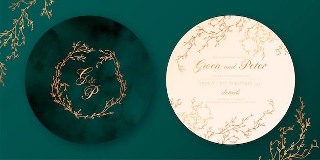Zielone i beżowe eleganckie zaproszenie na ślub