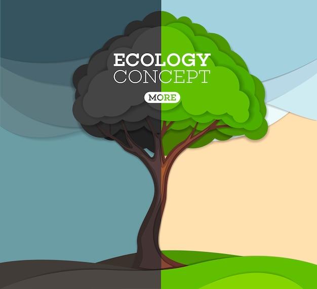 Zielone i czarne drzewo na łące. ekologiczna ochrona przyrody i środowiska.